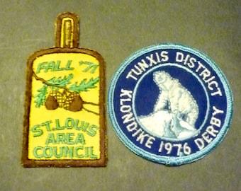 2 Boy Scout Badges- Klondike 1976 Derby- Tunxis District & St. Louis Area Council Fall '71