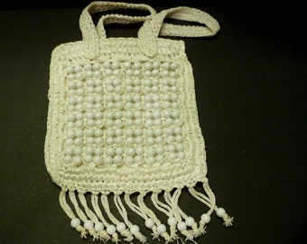 3.00 SALE -Raffia and bead Purse ~made in Japan