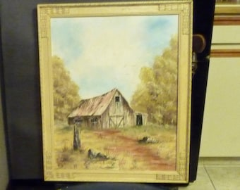 Just A Barn~ oil on board painted by Rangley, Colorado Artist- Country Decor