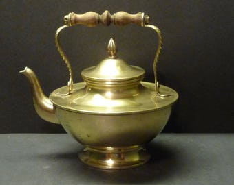 Brass Teapot with Wooden Handle - Large and Imposing