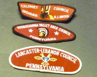 3 Boy Scout Councils Cloth Patches/Badges-  Pa., Ill, & Ind.