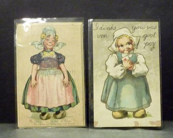 2  1907 Dutch Girls Post Cards - A bit Comical - used