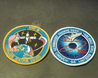 2 NASA Space badges- STS-83 & MIR 18 ( space shuttle docking w Russian Mir)