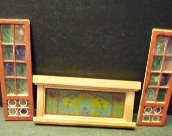 50% OFF-Dollhouse Stained Glass- Over the door Mantel (nice) & 2 rough door side panels.