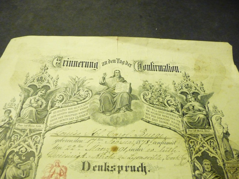 22,1878- Lyonsville Cook Cty. Ill. SALE* -German Lutheran Confirmation -Feb