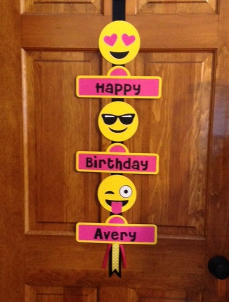 Personalized Emoji Smiley Faces Birthday Party Welcome Door image 0