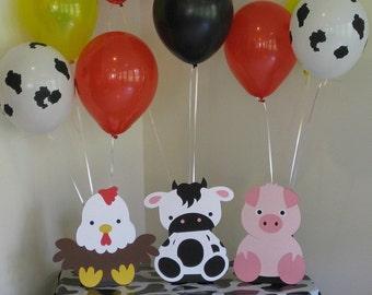 Barn Animals Birthday Party Table Decorations - Balloon Holders - Farm Animals