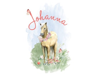 Ironing picture romantic horse wish name