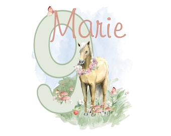 Ironing picture romantic horse birthday wish name