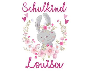 Ironing picture little rabbit schoolchild desired name
