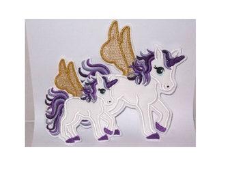 XL playful unicorn set 2pcs. Embroidery application
