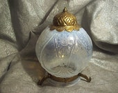 antique VICTORIAN OPALESCENT Pattern Glass Light Globe for Hanging Lamp with Metal Decoration