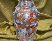 Antique Ornately Decorated JAPANESE SATSUMA Pottery VASE w ih Applied Butterflies