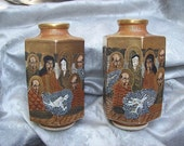 ANTIQUE SATSUMA Japanese Pottery Scholars and Saints Mirror Image Hexagonal VASES by Hodota
