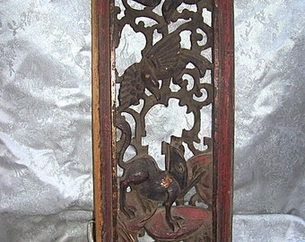 ANTIQUE CHINESE Carved and Painted Wood PANEL Relief Sculpture with Birds and Wildlife