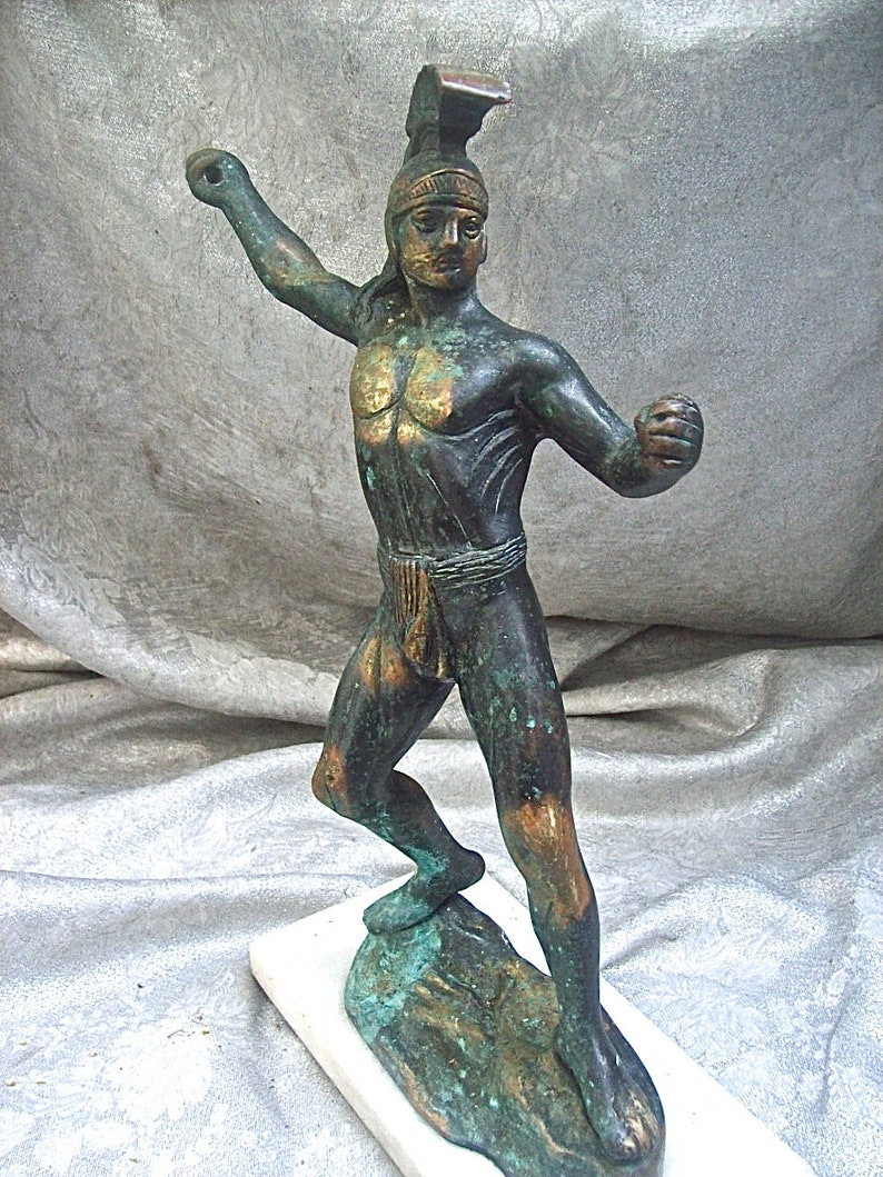Vintage 12 12 tall ANCIENT SPARTAN WARRIOR with Spear Patinated Metal Figurine Sculpture on Stone Base