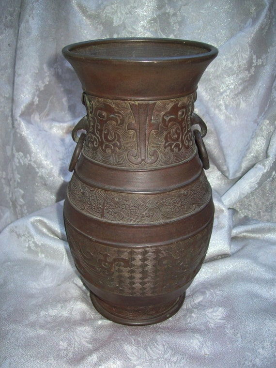 Antique Japanese Bronze Vase With Intricate Patternsdesigns Etsy