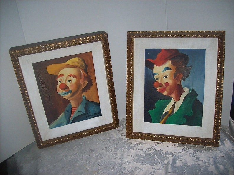 Pair of Circa 1950'S Framed Oil Paintings on Canvas ITALIAN CLOWN PORTRAITS  from Italy