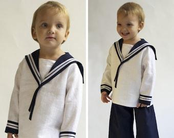 Sailor Suit for children Linen Deluxe a Baptism outfit for children