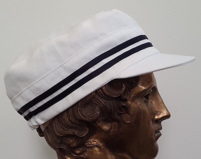 Sailor Cap white with blue ribbons