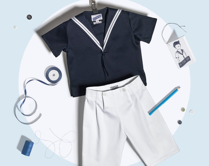 Boys Sailor Suit Summer Cotton blue white