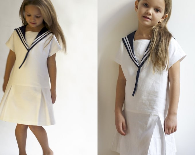 Sailor Dress LOTTE Linen Vintage Dress with Sailor Collar