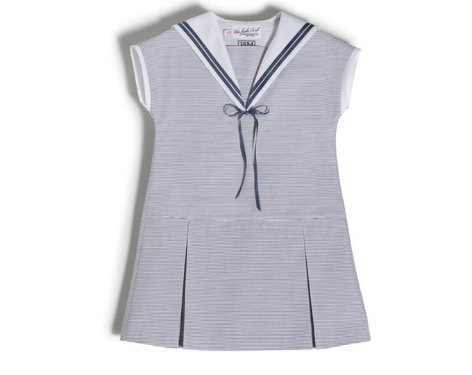 Sweet Sailor Dress for girls made of light blue cotton