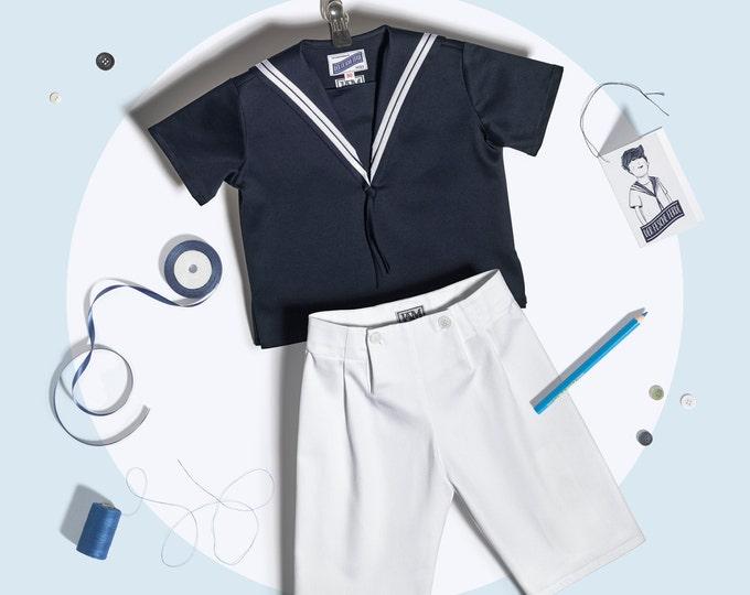 Boys Sailor Suit Summer Cotton blue white
