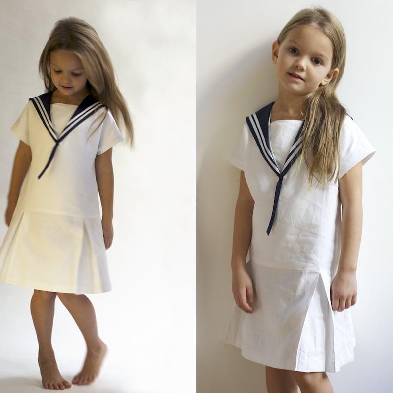 Sailor Dress LOTTE Linen Vintage Dress with Sailor Collar image 0