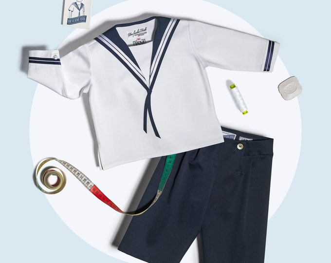 Boys Sailor Suit classic in white and blue cotton
