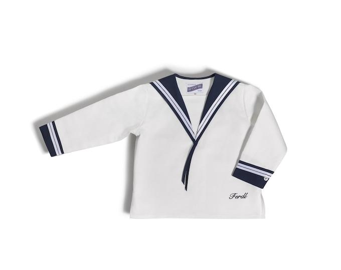 Sailor Shirt Boy Pure Linen Fabric with blue Sailor collar