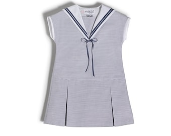 Sweet Sailor Dress for girls made of light blue cotton