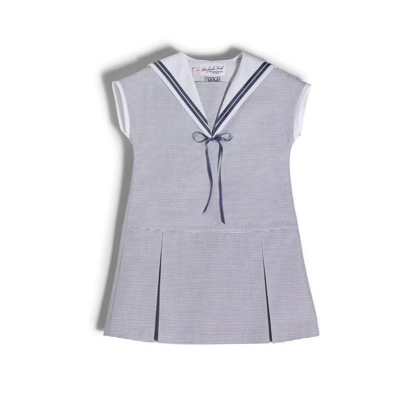 Sweet Sailor Dress for girls made of light blue cotton White