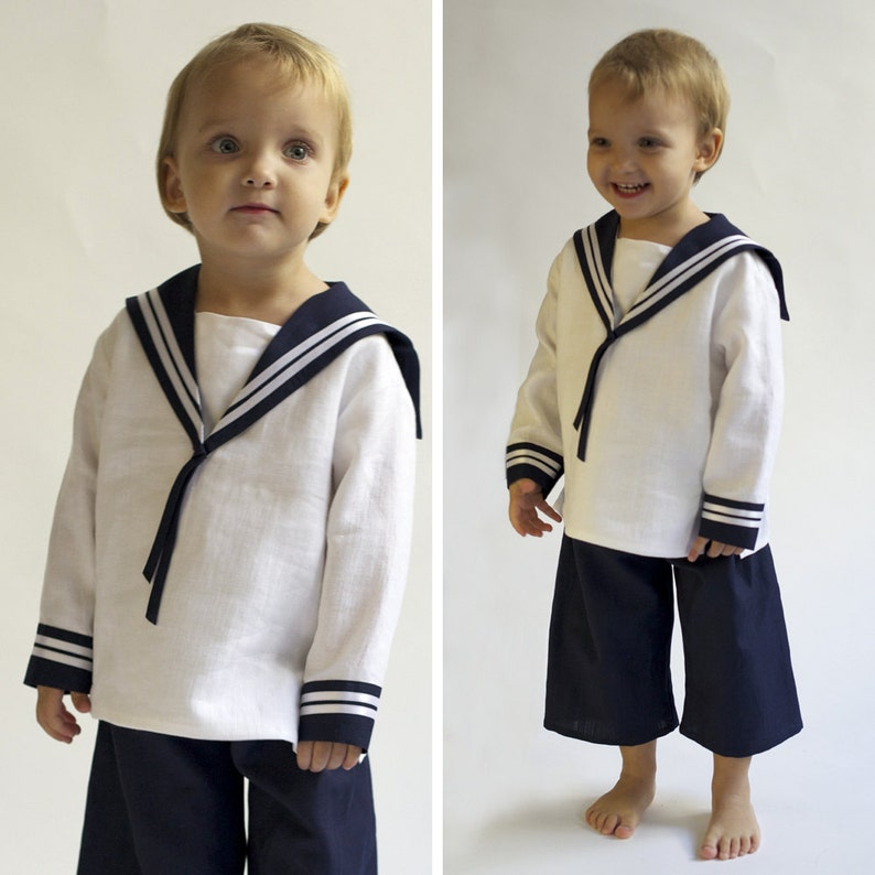 Sailor Suit for children Linen Deluxe a Baptism outfit for image 0
