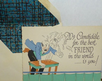 Vintage 1920's UNUSED POLITICAL CANDIDATE For Best Friend Greeting Card w/ Lined Envelope