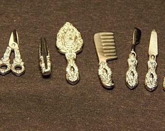 Dollhouse miniature vanity set of 7 items 925 silver