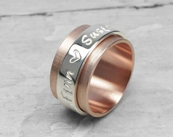 Turning ring, playing ring, family ring family band LUXERY 333 red gold (8k) with ribbon 925 silver, stamped, personalized with name