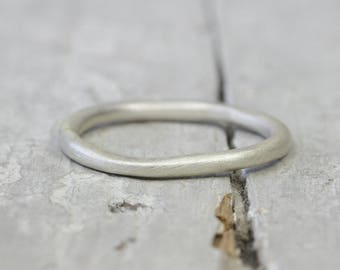 Silver Ring Ring, Matt brushed, collector ring, 2 mm, 925 sterling silver, organic form