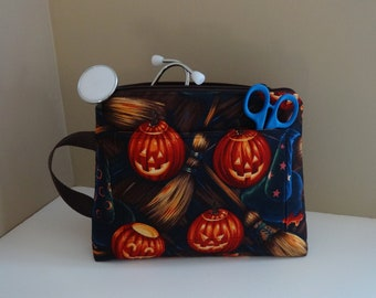 Halloween nurses pouch with pockets, tall stethoscope bag, make up bag, zipper pouch, gift for nurse, wife, her, sister, medical supplies