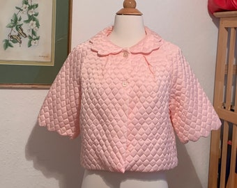 Baby Blue Bed Jacket Vintage 1950/'s Quilted Bed Jacket Rockabilly Quilted Bed Jacket Robe