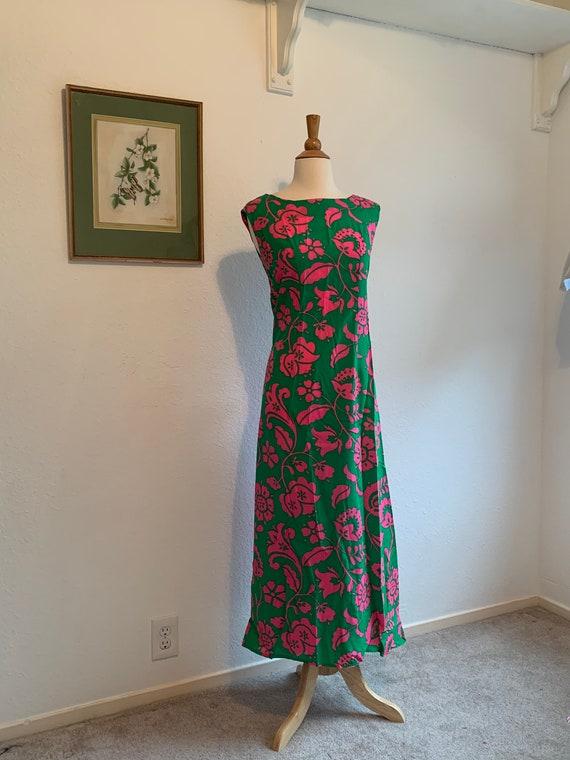 Vtg 60's Psychedelic Floral Print Maxi Dress, Kell