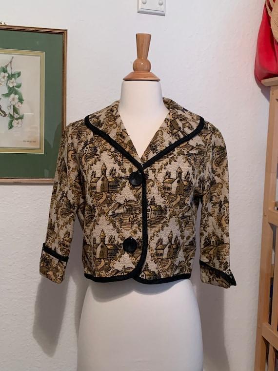 Vintage 50's Brocade Crop Jacket, Women's Small, 5