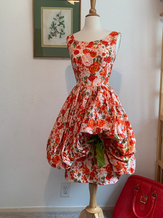 Vintage 1950's Puff Bubble Balloon Dress, 50's Cot