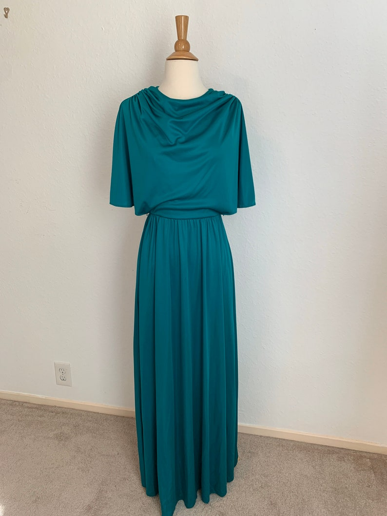 Size 2 Vtg 70/'s Angel Wing Disco Dress Size 2 Green Maxi Disco Dress with Angel Wings
