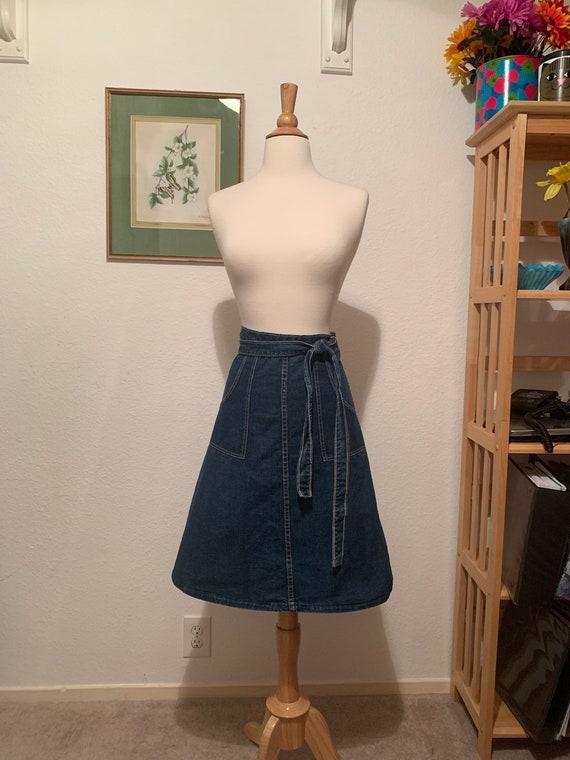 Vintage 70's A Line Wrap Denim Skirt, Wrap Denim S