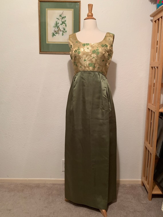 Vintage 1960's Green Yellow Chartreuse Empire Wais