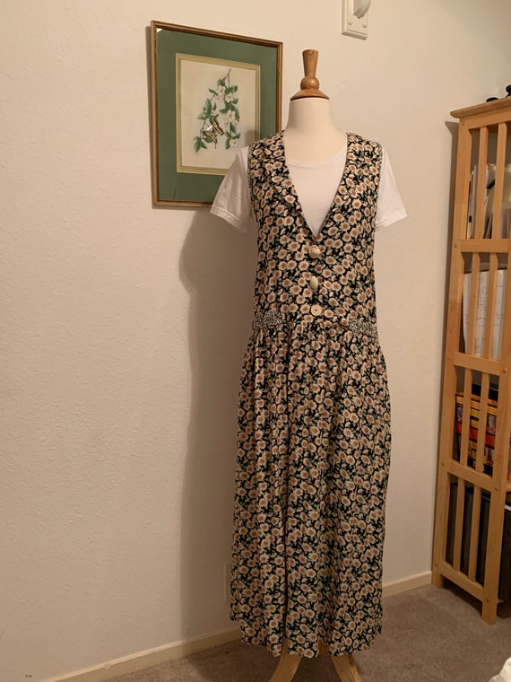 Vtg 90's Rayon Floral Maxi Dress, Daisy Dress, Ray