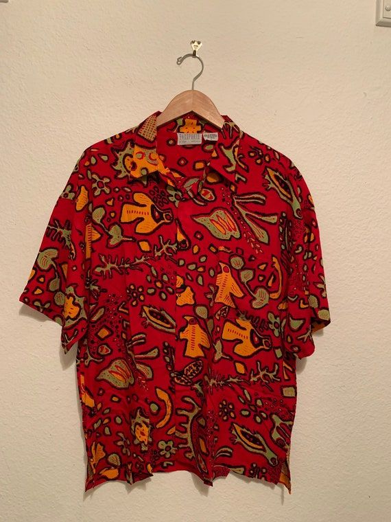 Vtg 90's Red Abstract  Shirt Size Large, 90's Rayo