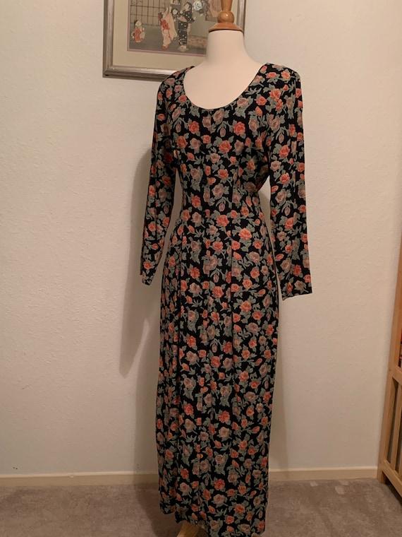 VTG 90's Floral Maxi Dress Size Medium, 90's Rayon
