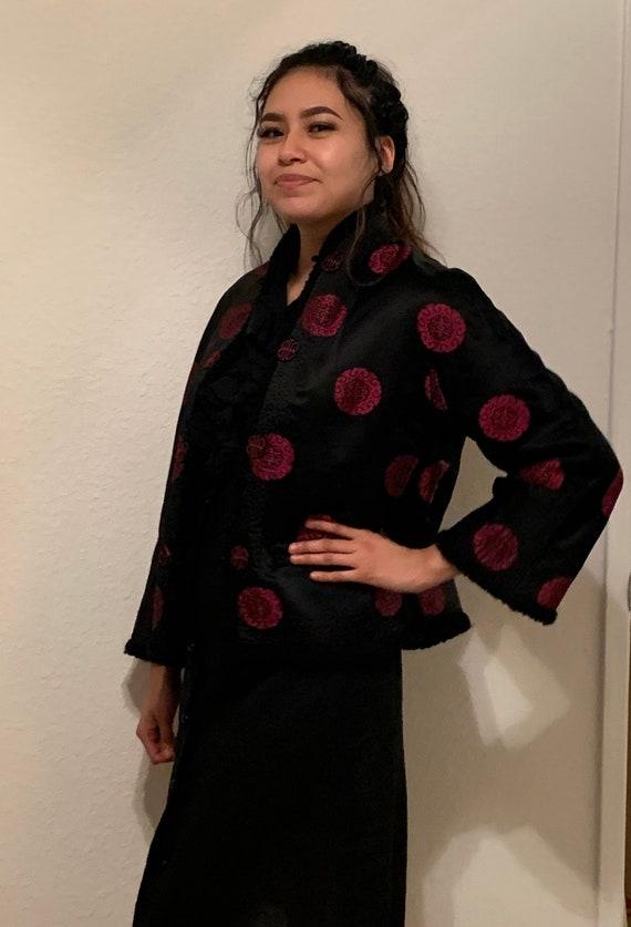 Vtg Black Quilted Chinese Jacket - Black Silk Broc